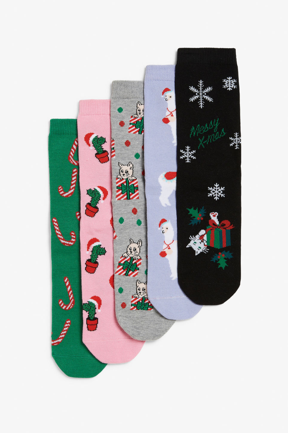 Front image of Monki five-pack socks in pink