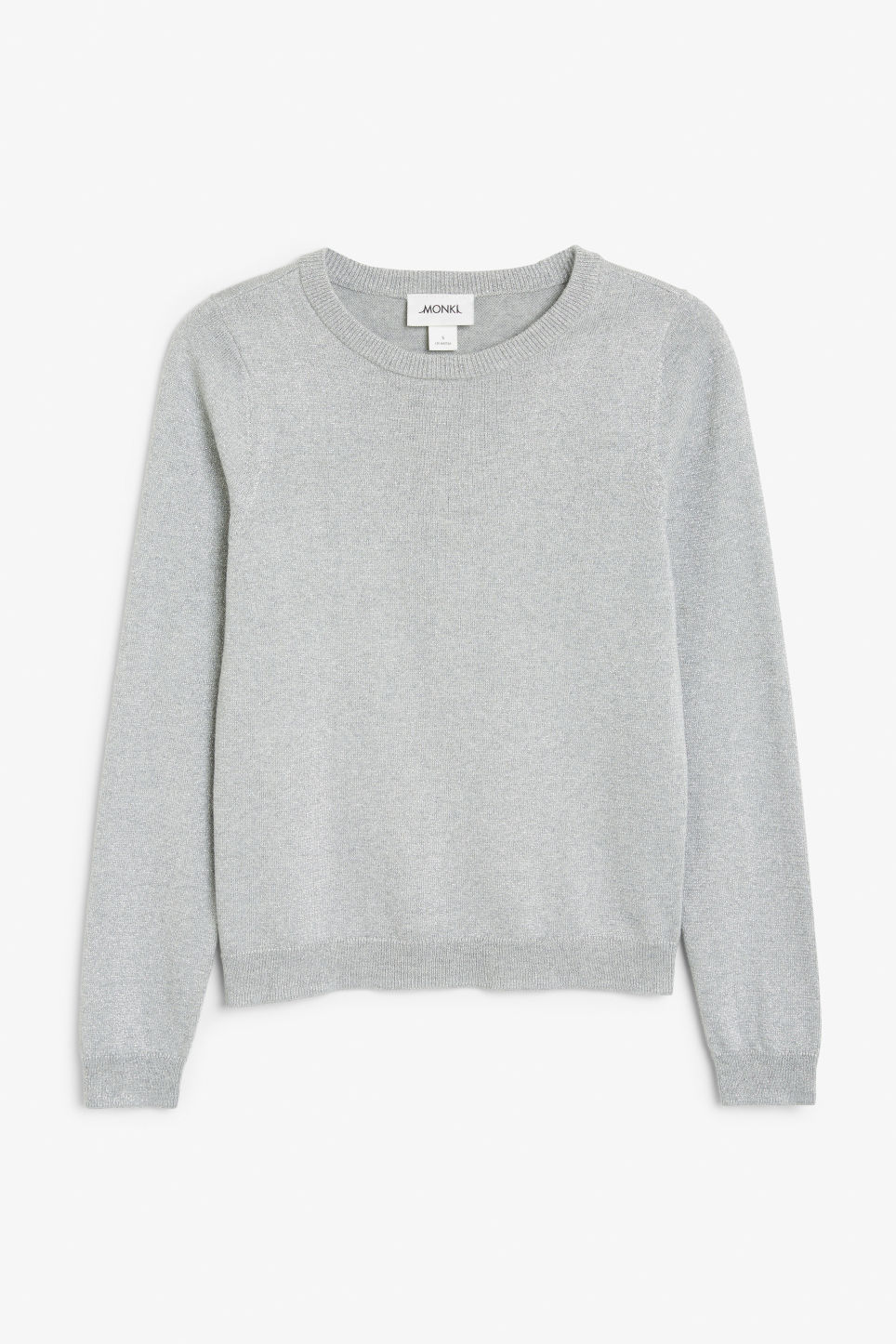 Front image of Monki knitted long-sleeved top in grey