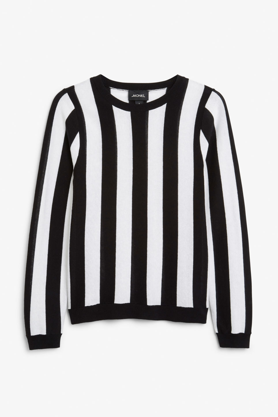 Front image of Monki knitted long-sleeved top in black