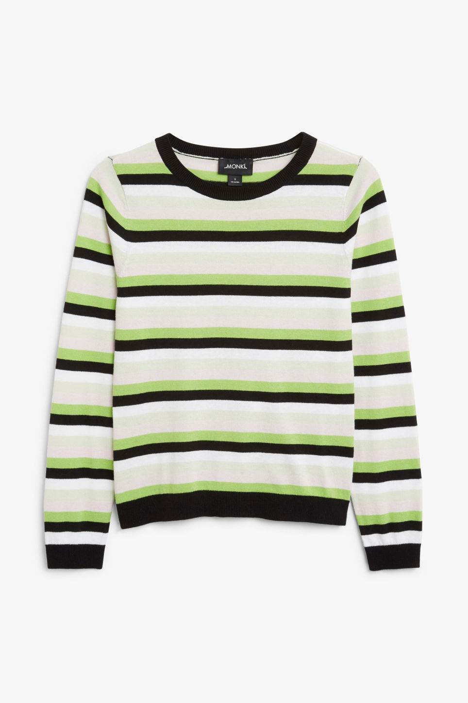 Front image of Monki knitted long-sleeved top in green