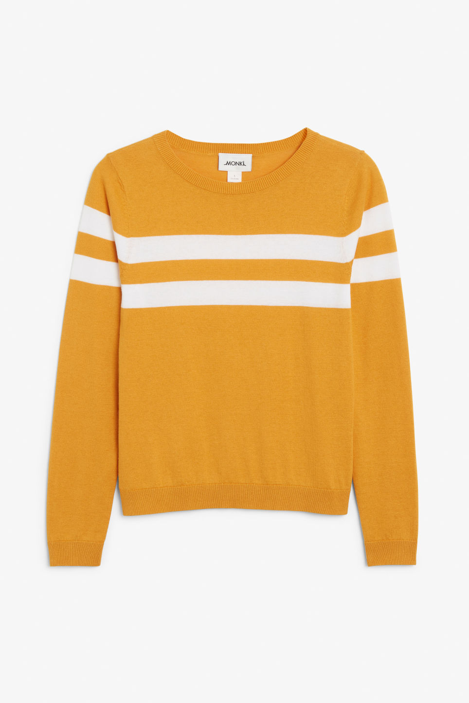 Front image of Monki knitted long-sleeved top in yellow