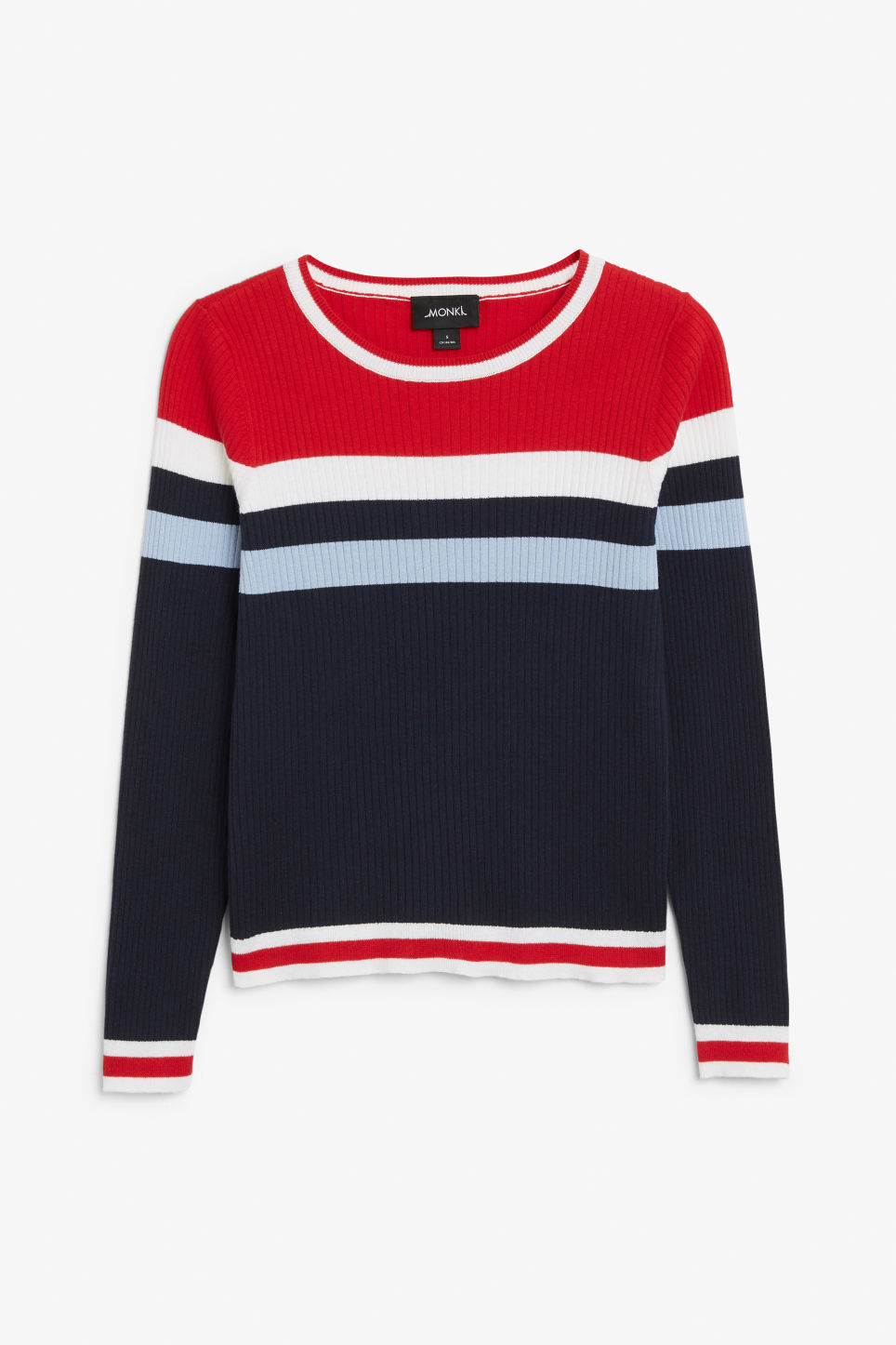Front image of Monki knitted long-sleeved top in blue
