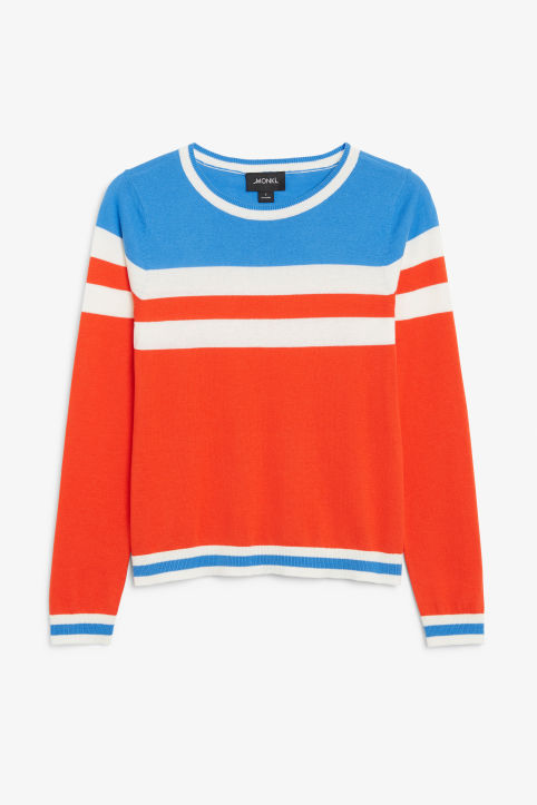 Front image of Monki knitted long-sleeved top in orange