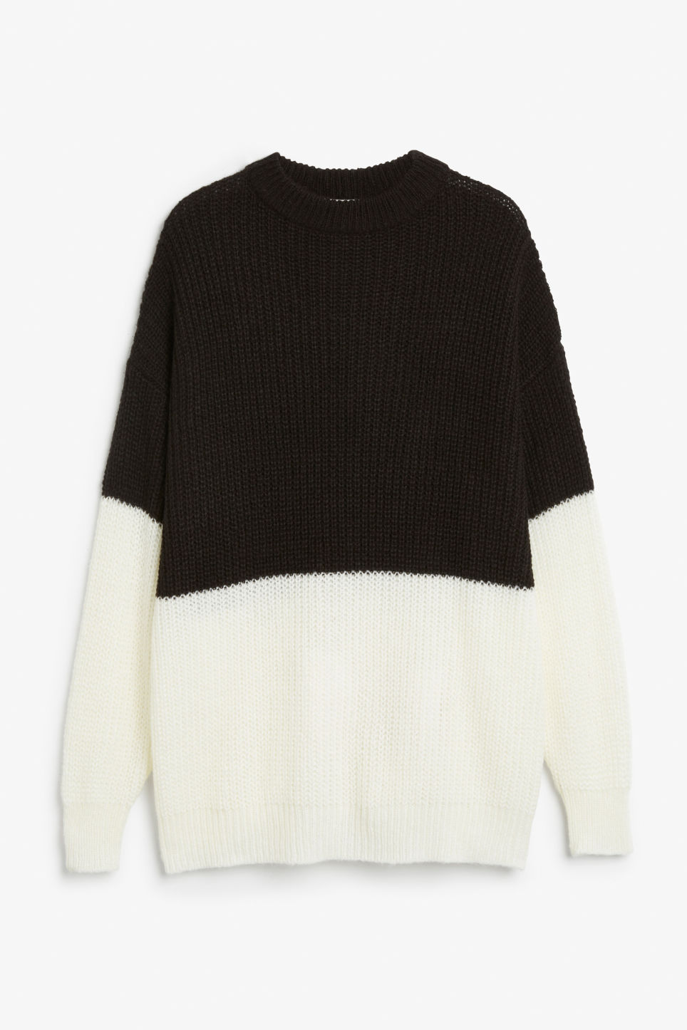 Front image of Monki oversize knit top in black
