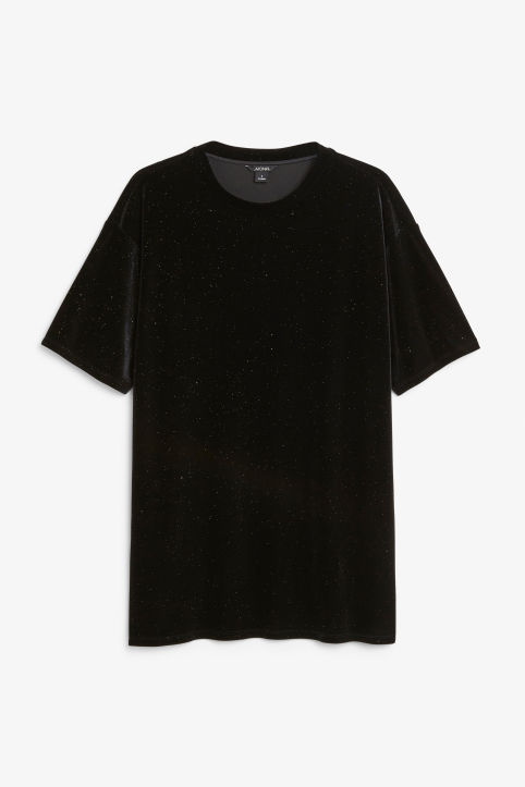 Front image of Monki velvet tee  in black