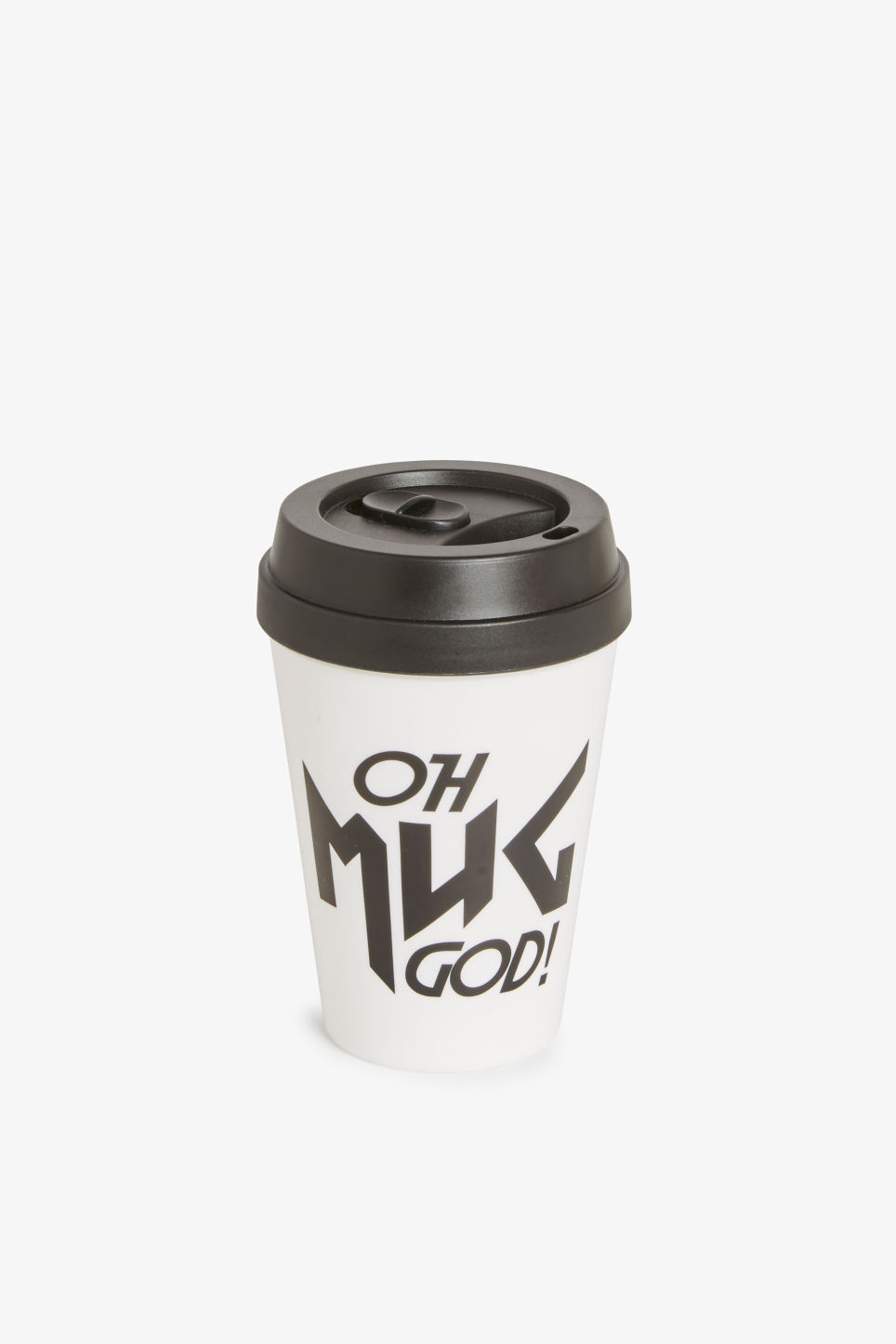 Front image of Monki statement travel mug in black