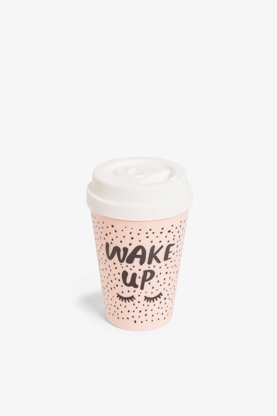 Front image of Monki statement travel mug in pink