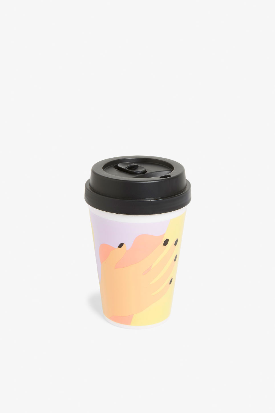 Front image of Monki travel mug in yellow