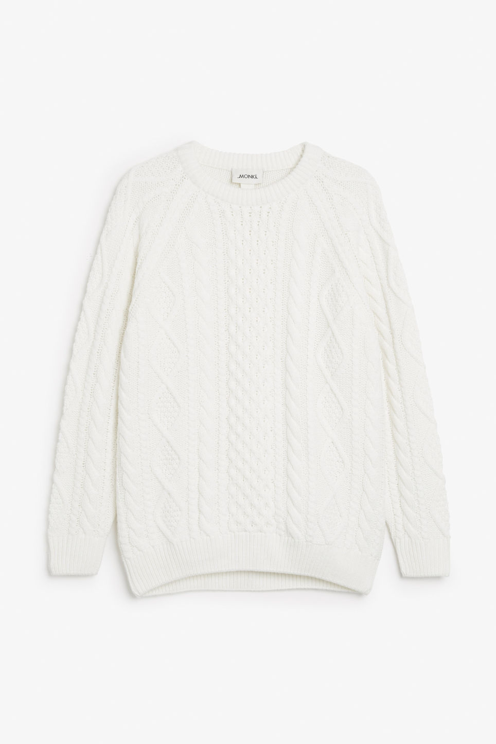 Front image of Monki oversized knit sweater in white