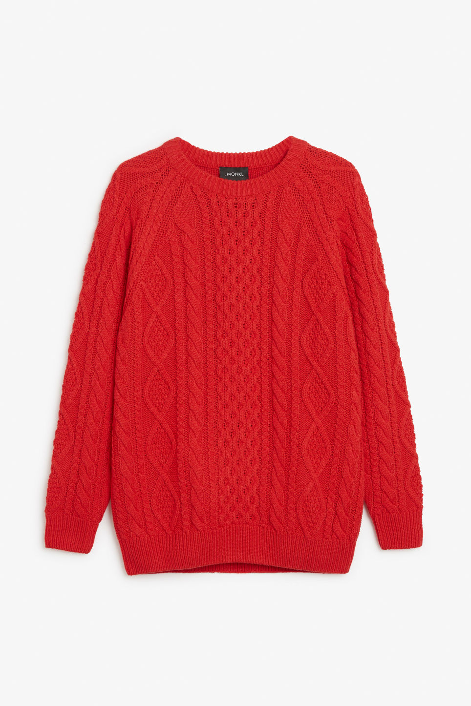 Front image of Monki oversized knit sweater in red