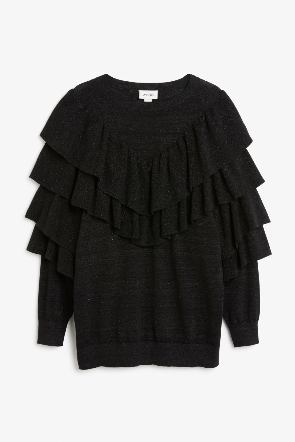 Front image of Monki oversize glitter ruffle sweater in black