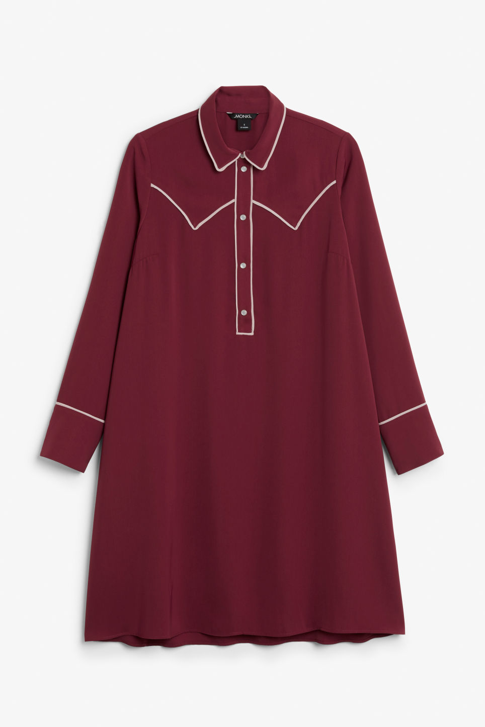 Front image of Monki contrast piping shirt dress in red