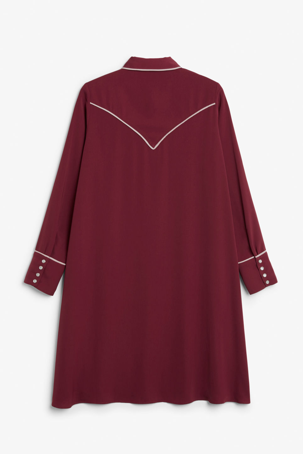 Back image of Monki contrast piping shirt dress in red