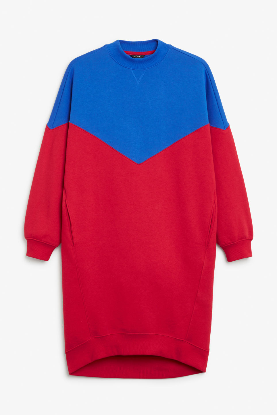 Front image of Monki oversize sweater dress in red