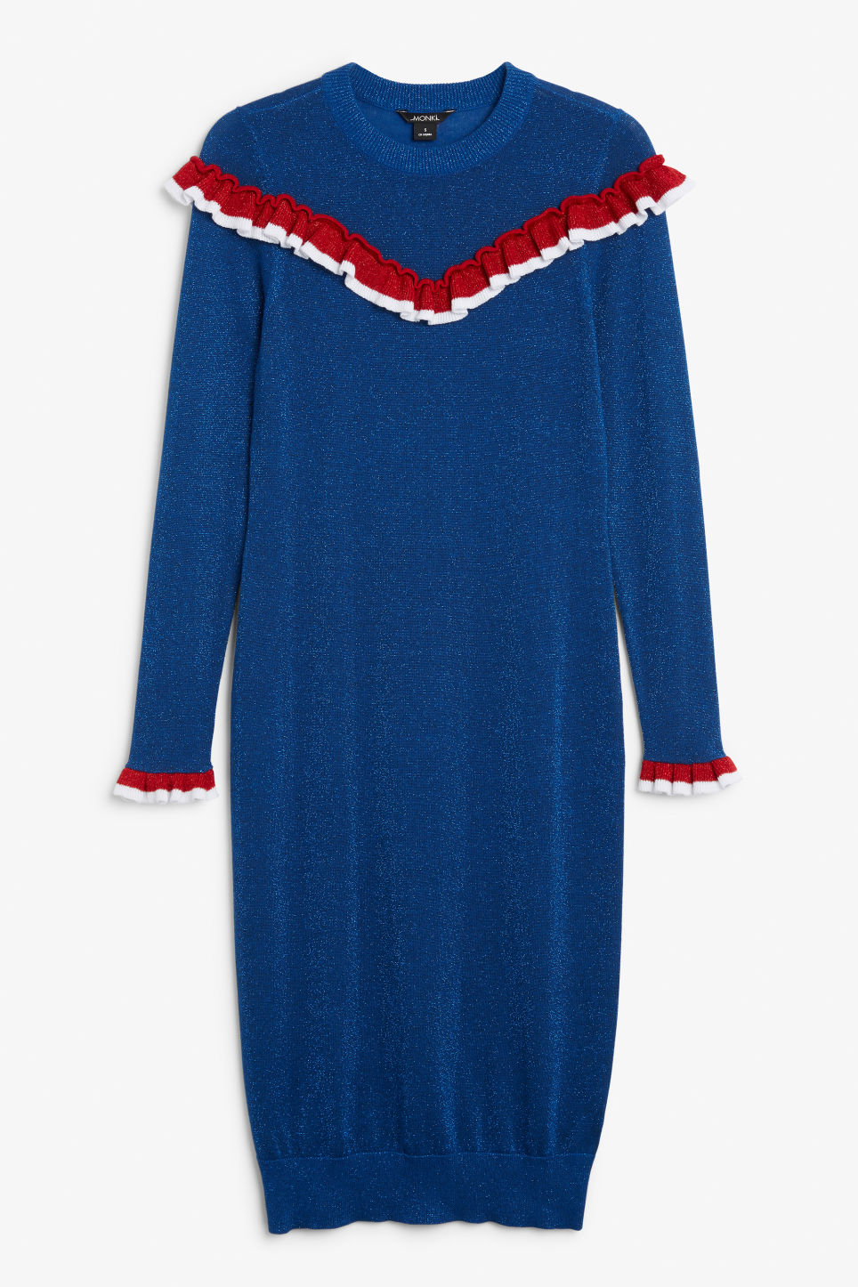 Front image of Monki ruffled knit dress in blue
