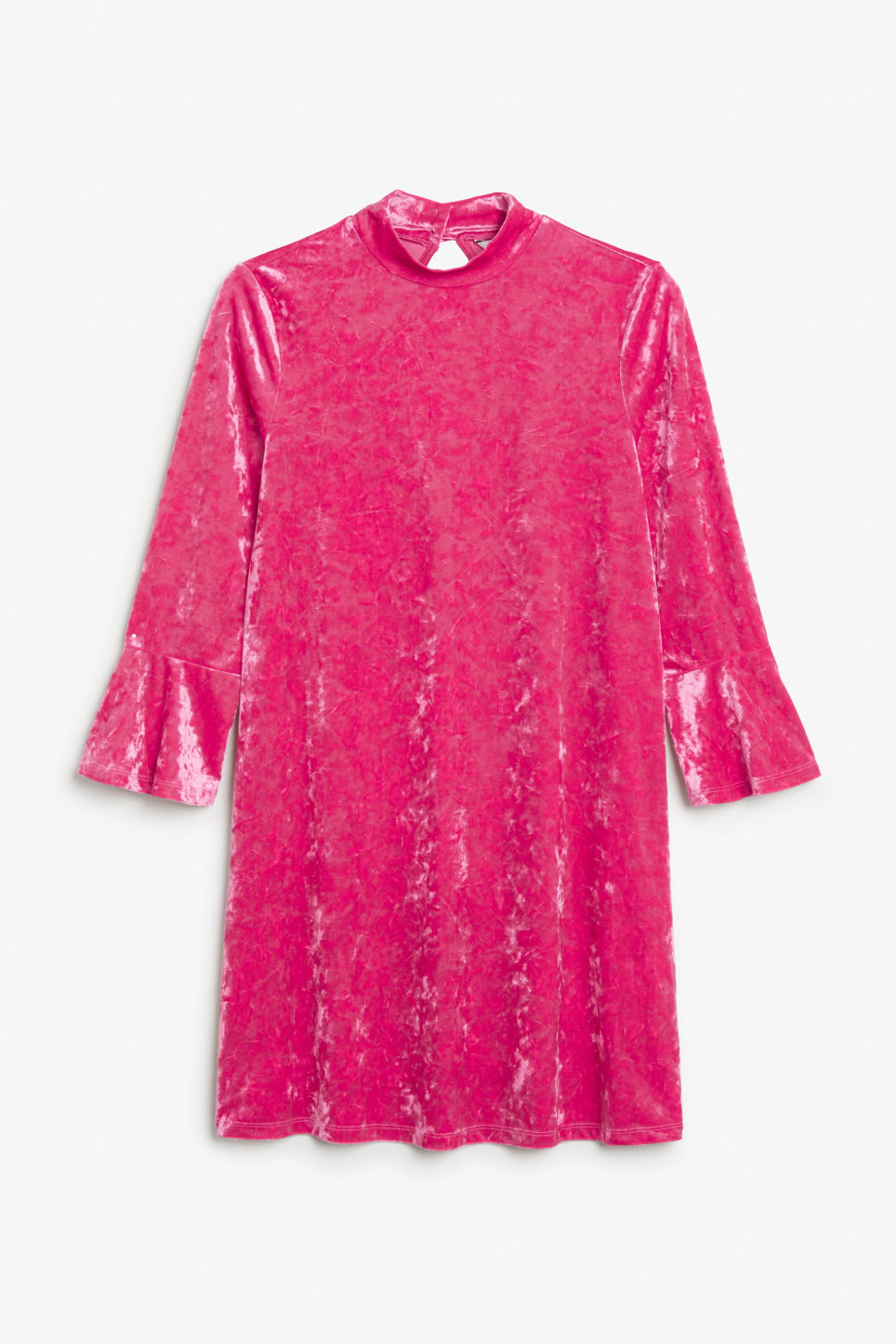 Front image of Monki high neck velvet dress in pink