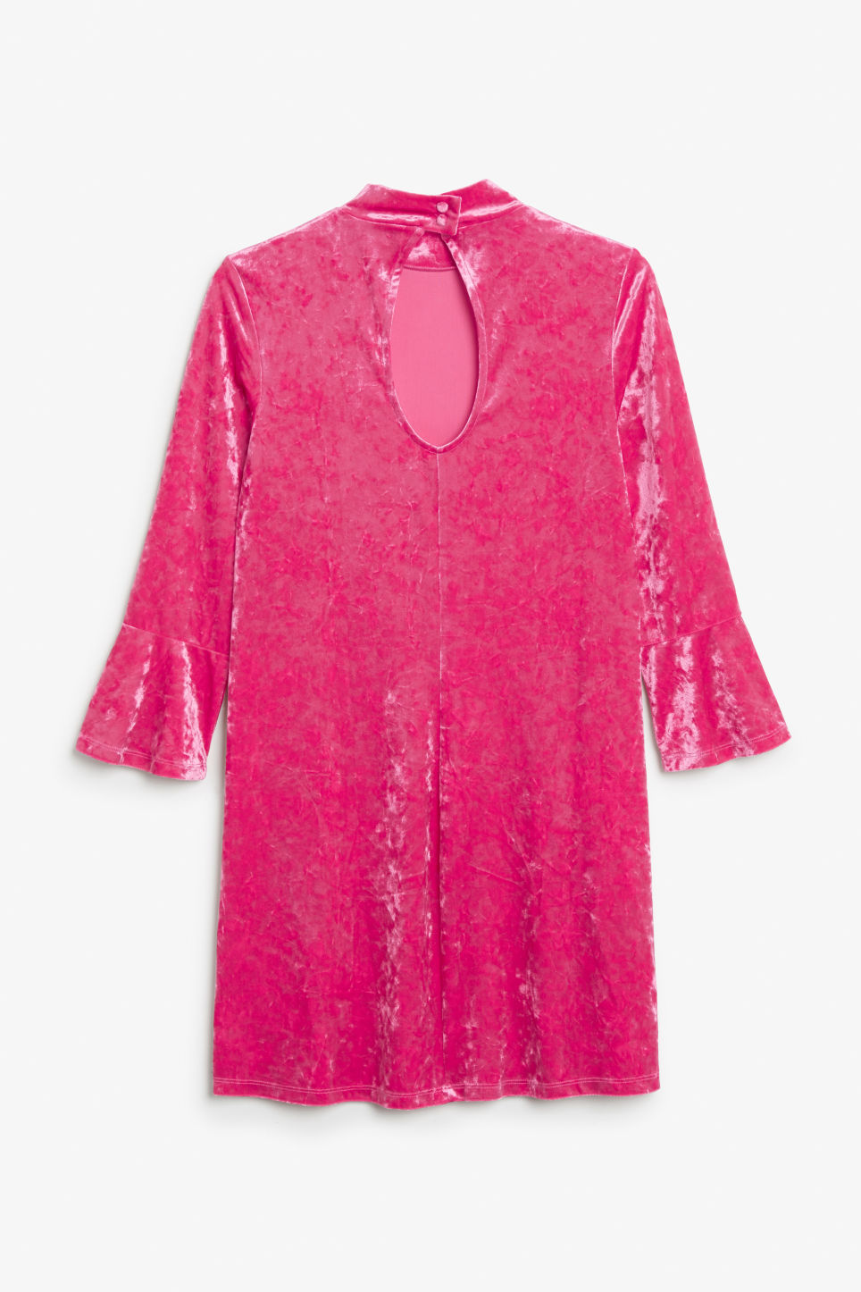Back image of Monki high neck velvet dress in pink