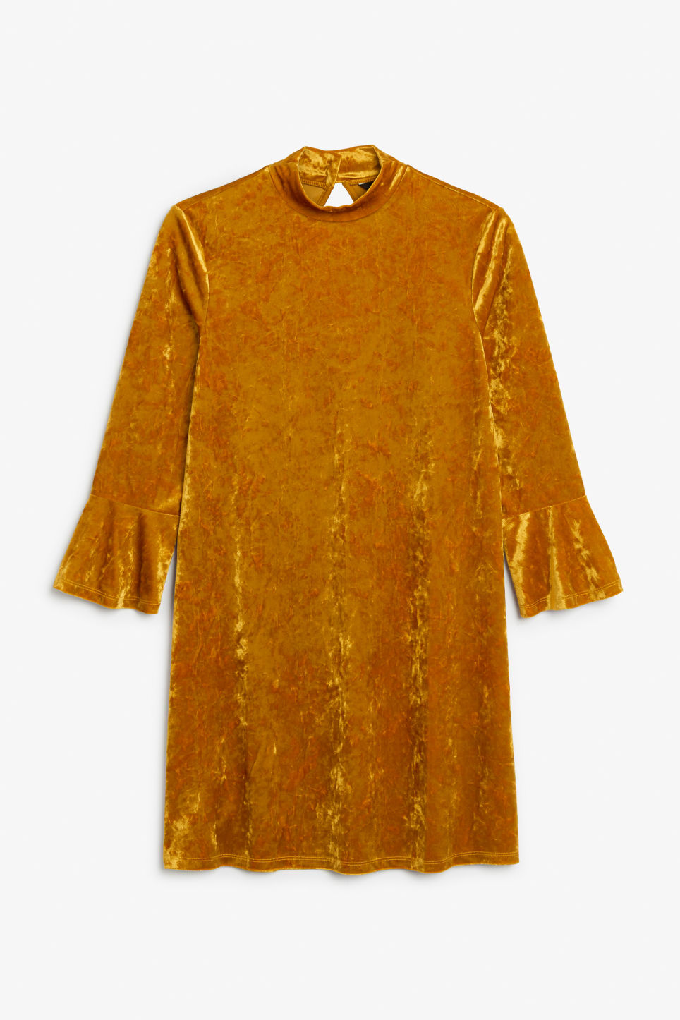 Front image of Monki high neck velvet dress in orange
