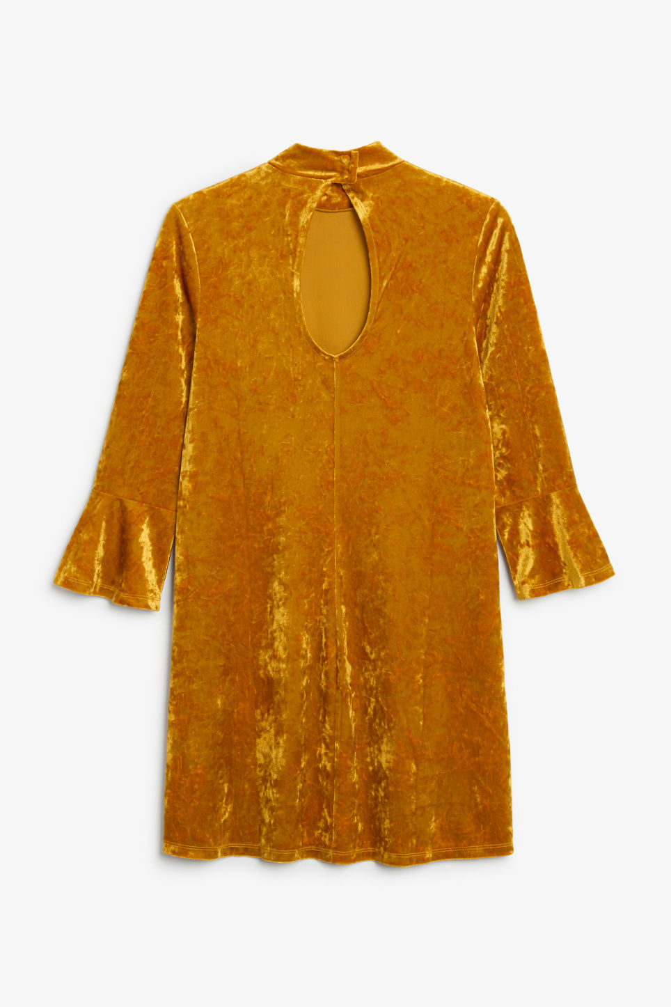 Back image of Monki high neck velvet dress in orange