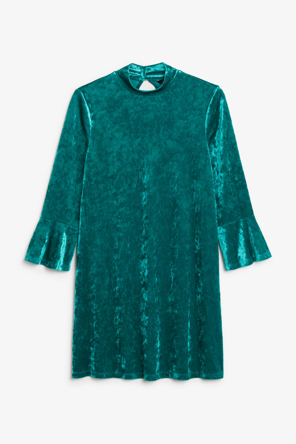 Front image of Monki high neck velvet dress in turquoise