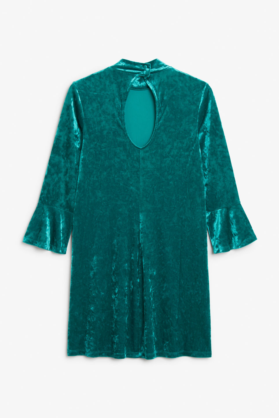 Back image of Monki high neck velvet dress in turquoise
