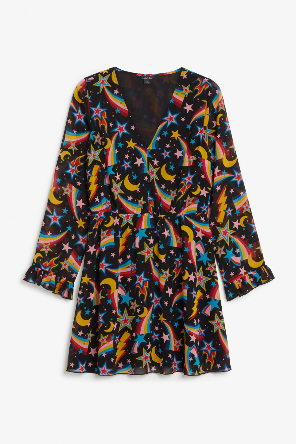 Front image of Monki stay-up-all-night dress in black