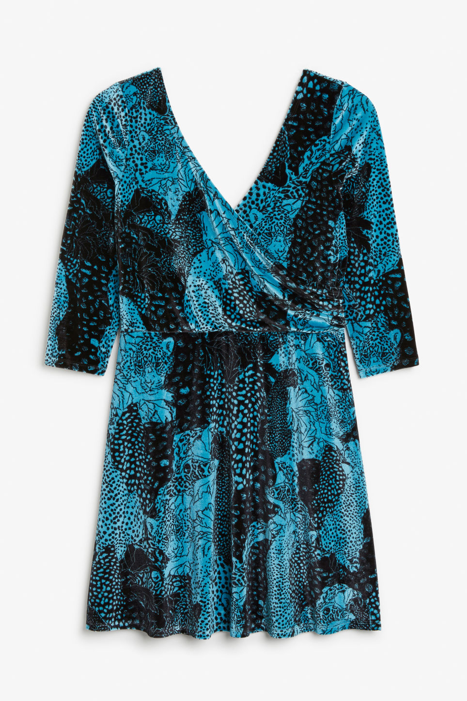 Front image of Monki velvet wrap dress in turquoise