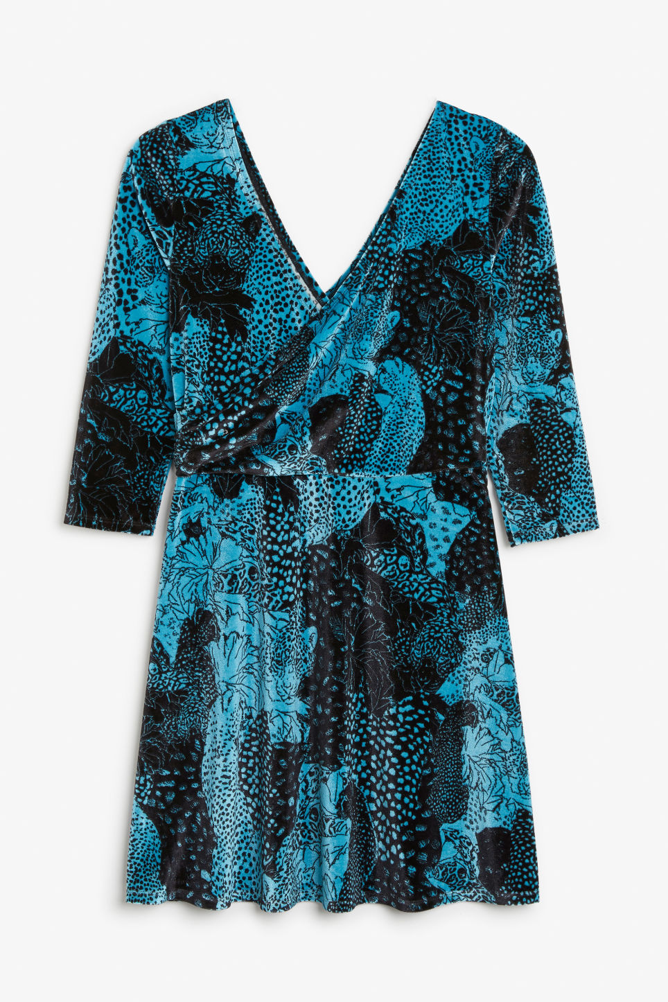 Back image of Monki velvet wrap dress in turquoise