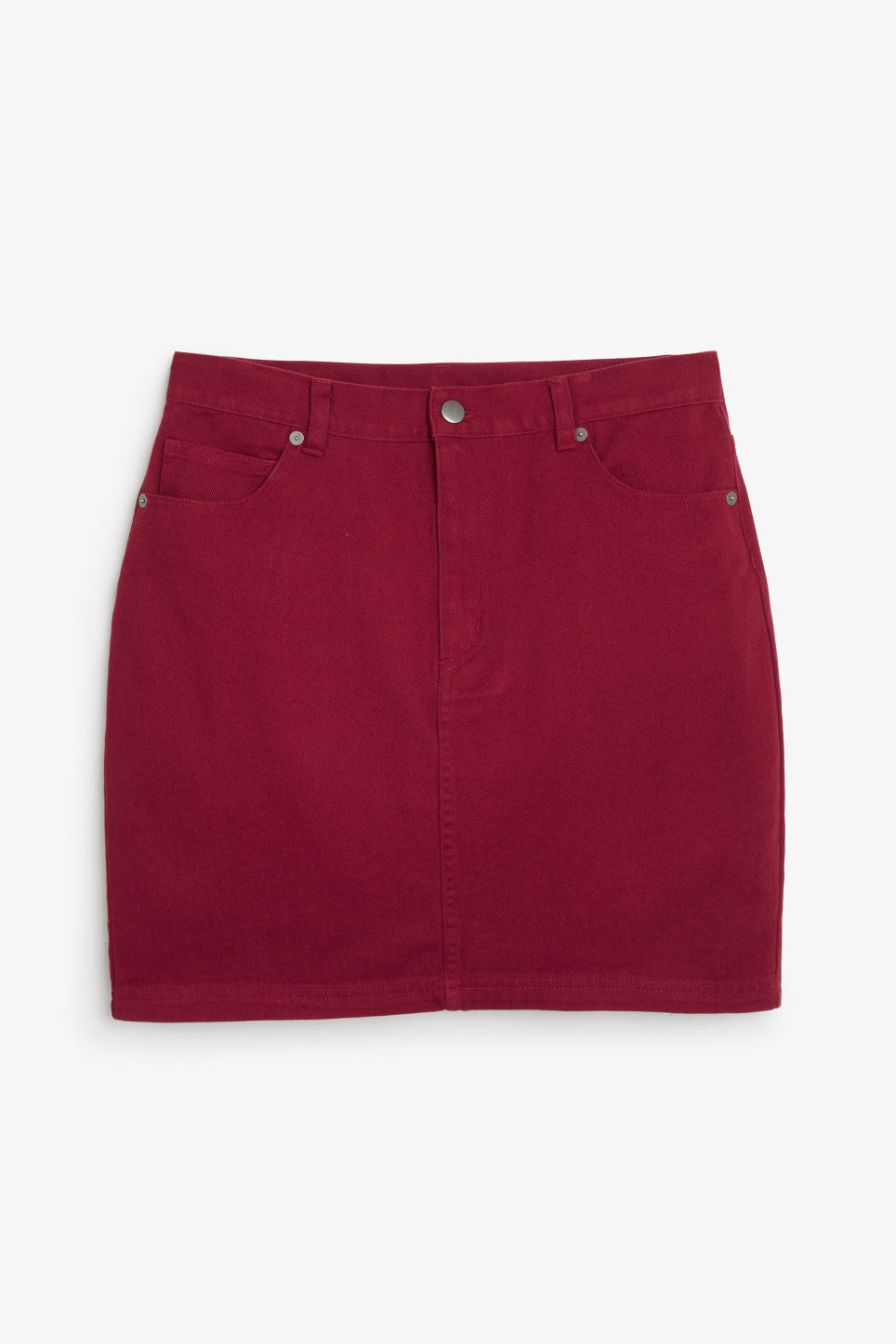 Front image of Monki cotton miniskirt in red
