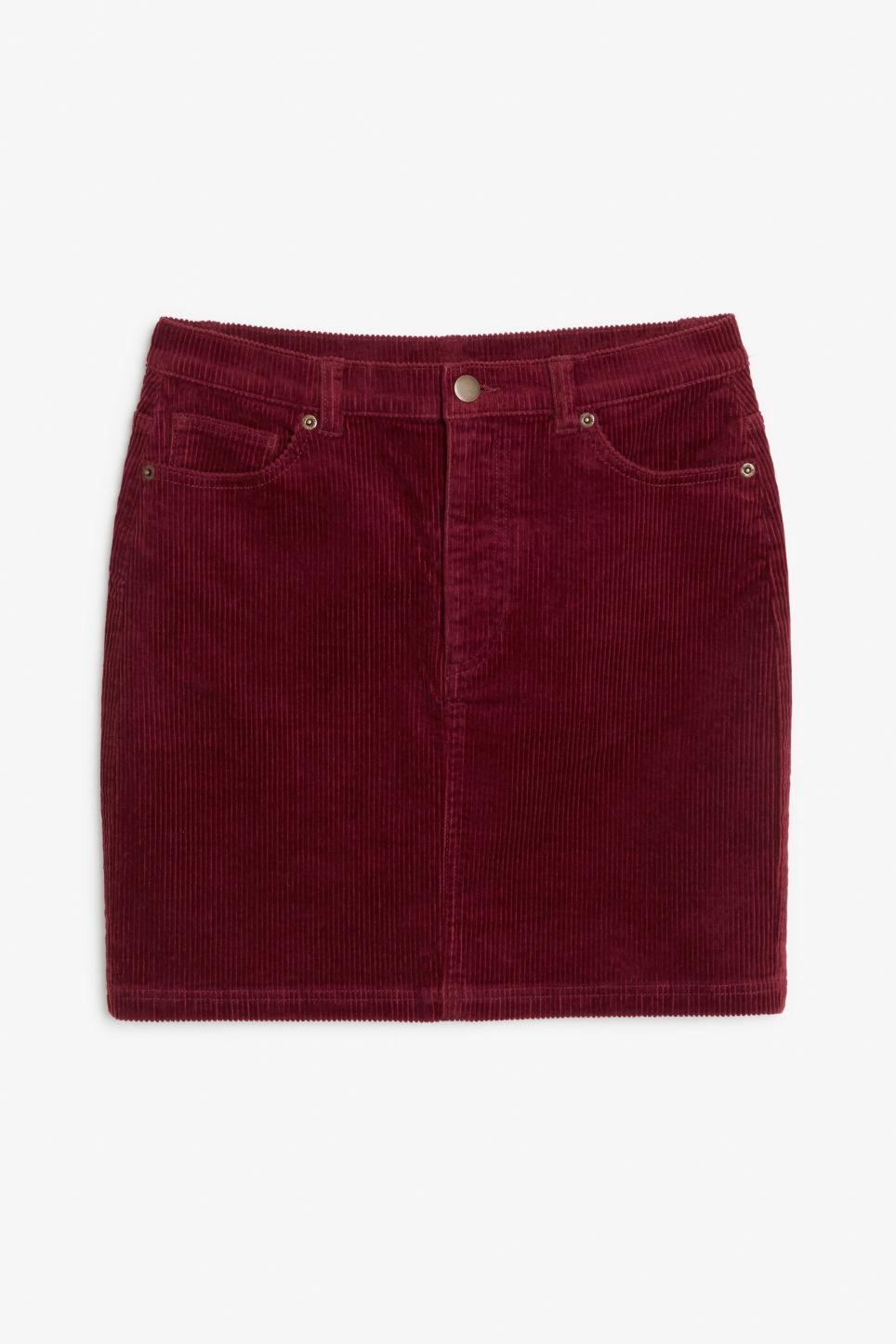 Front image of Monki cord skirt in red