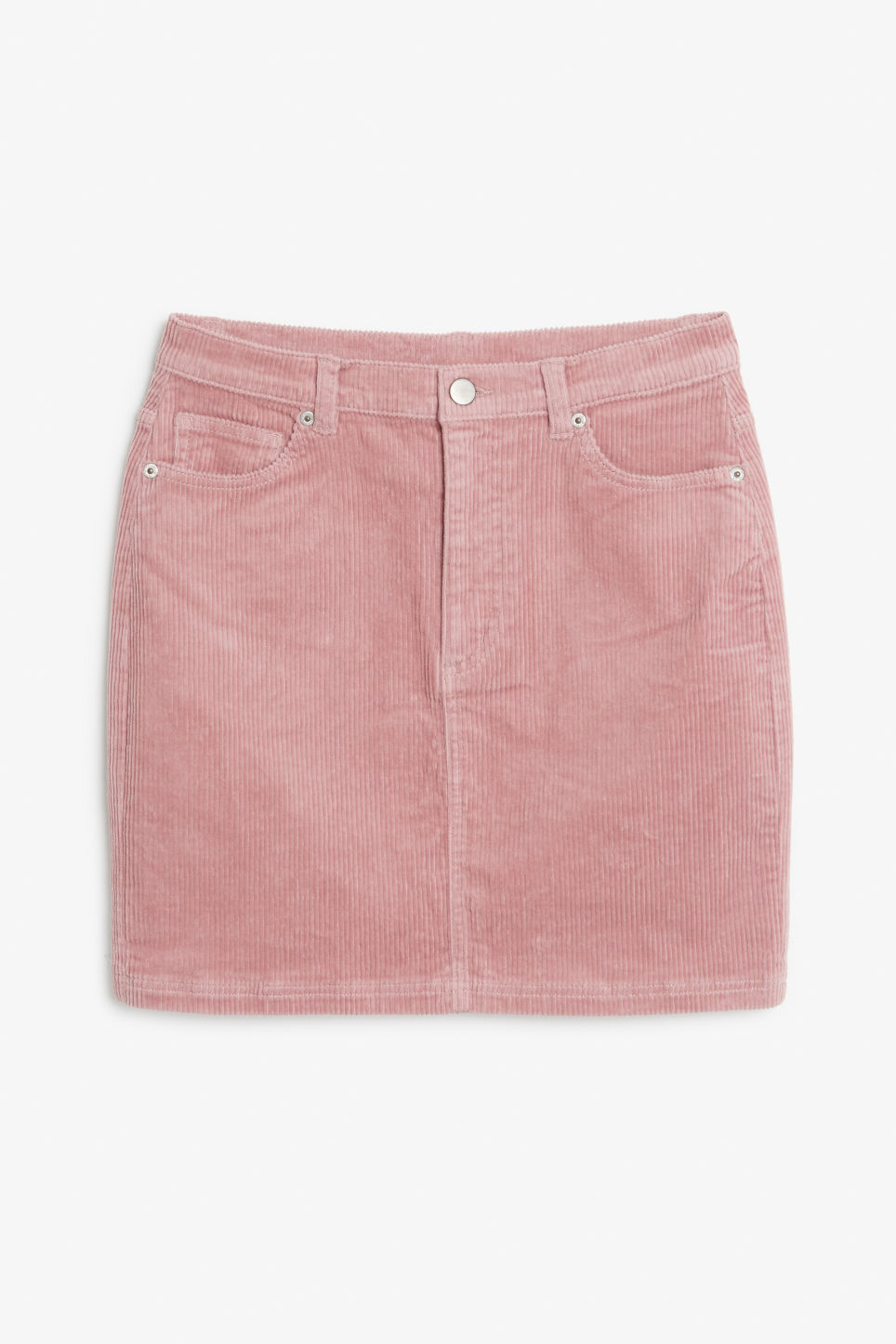 Front image of Monki cord skirt in pink