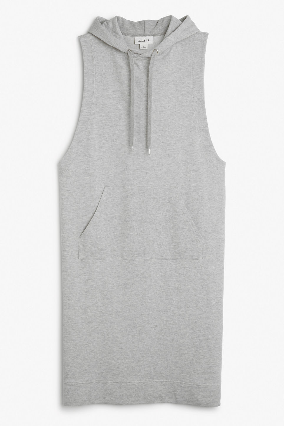 Front image of Monki sleeveless hoodie dress in grey