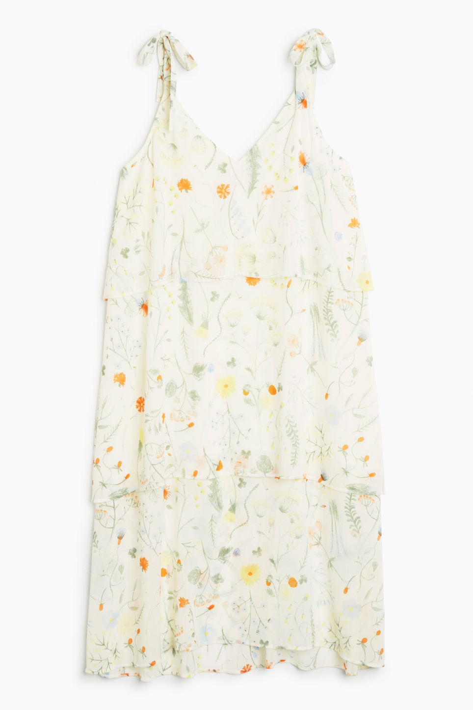 Front image of Monki shoulder tie dress in white