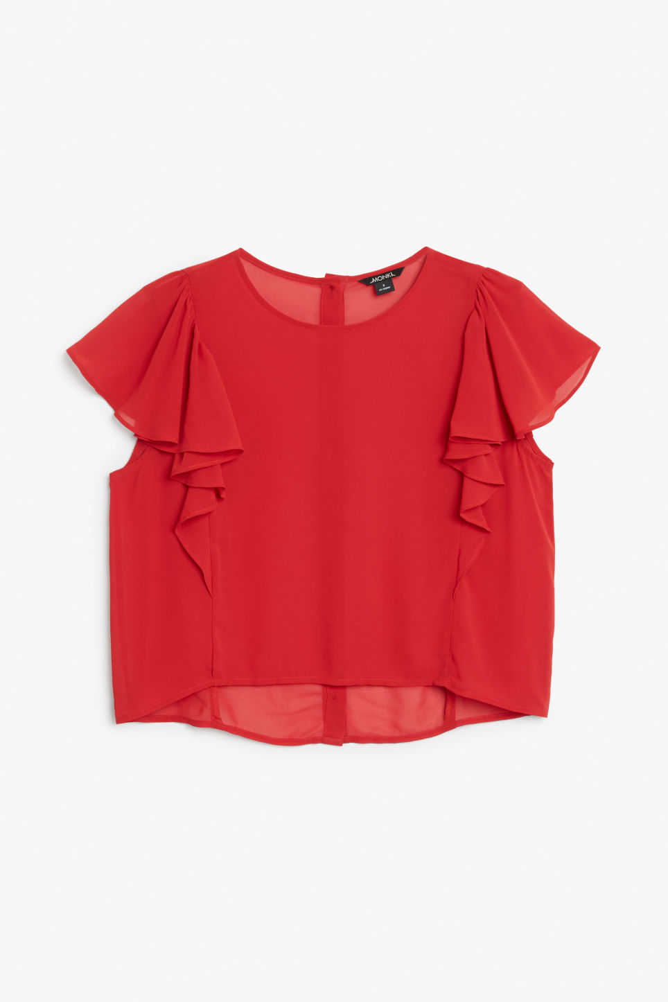 Front image of Monki ruffled blouse in red