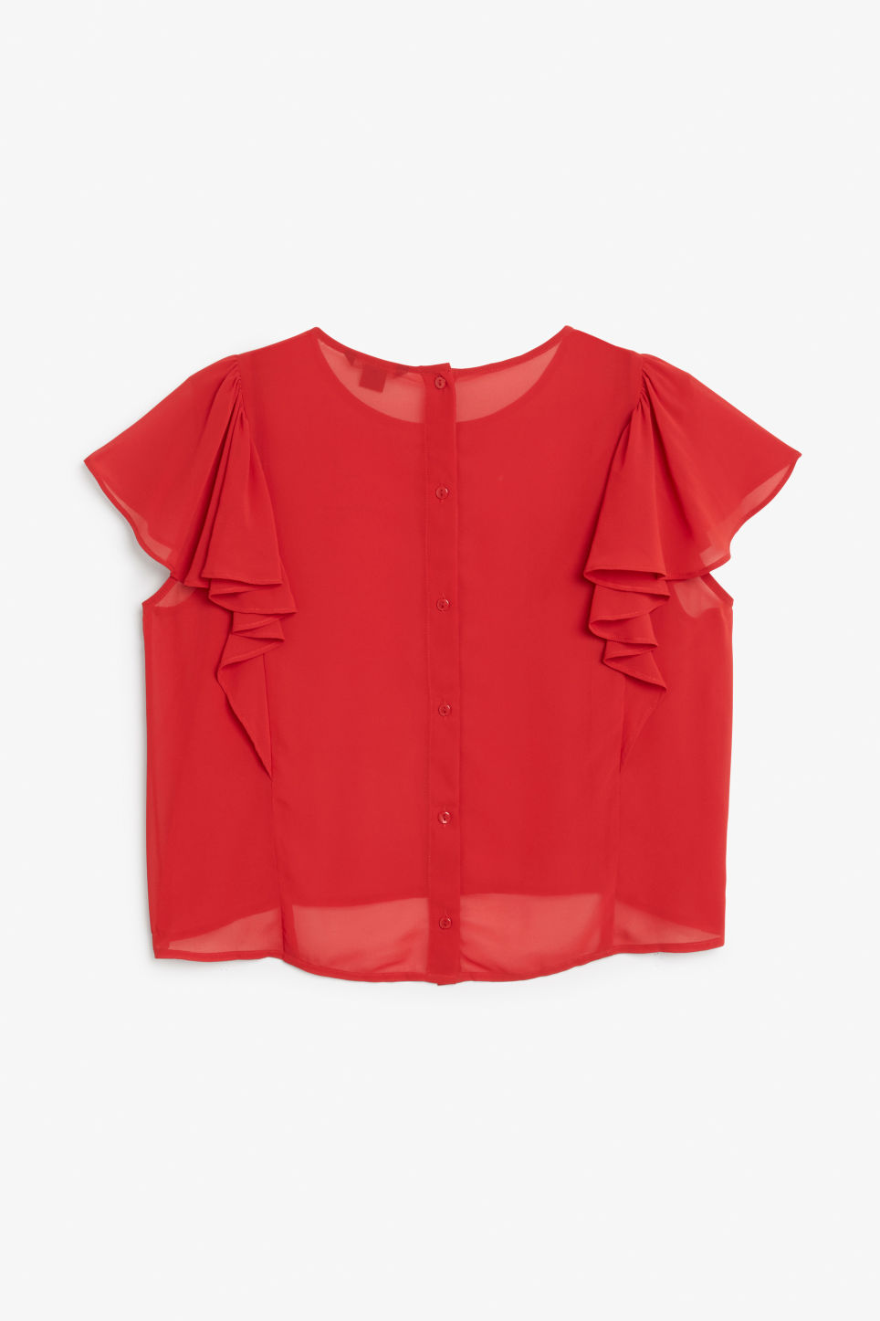 Back image of Monki ruffled blouse in red