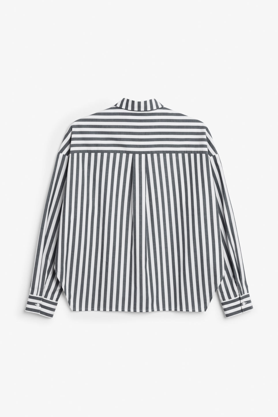 Back image of Monki hidden button cotton blouse in black