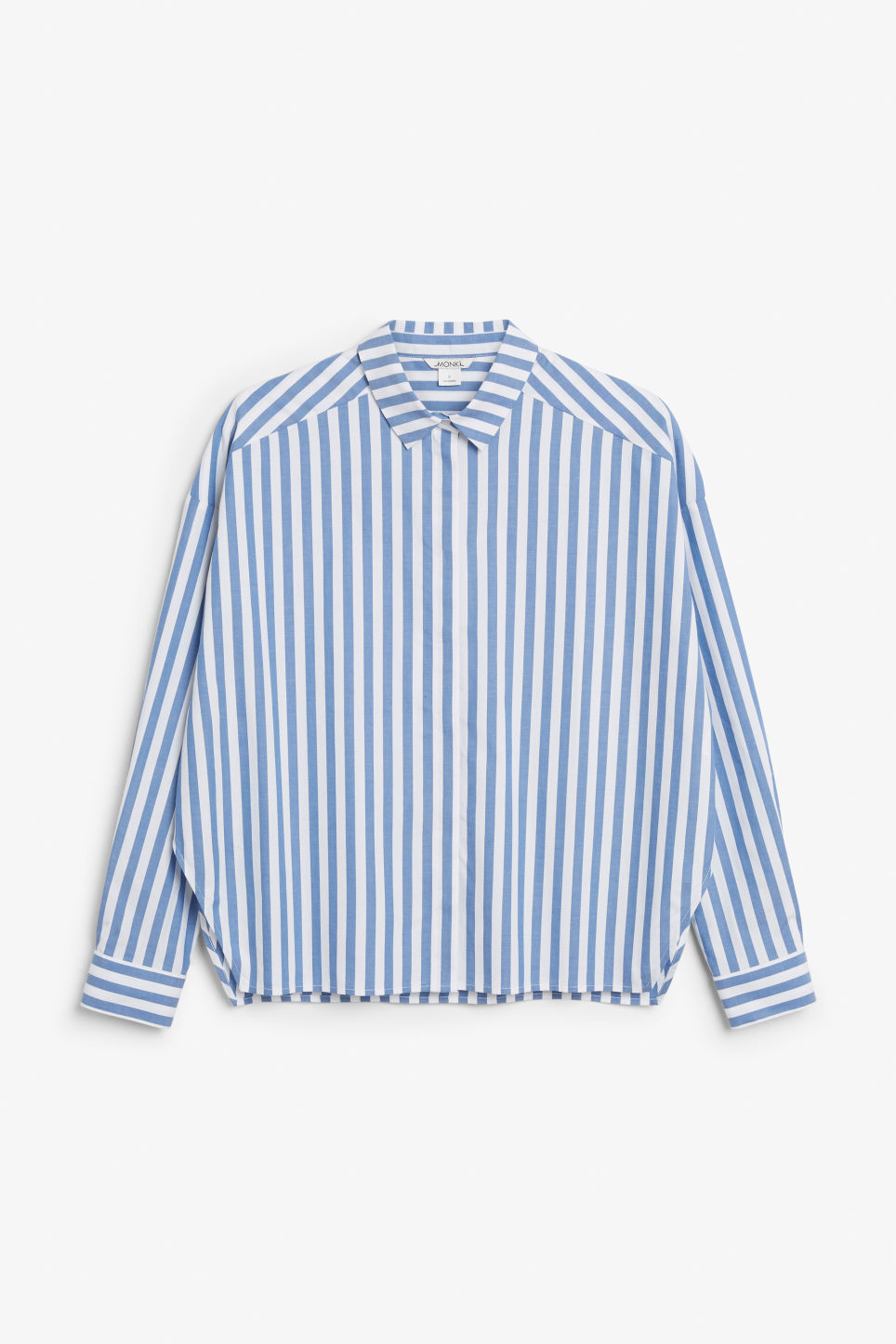 Front image of Monki hidden button cotton blouse in blue