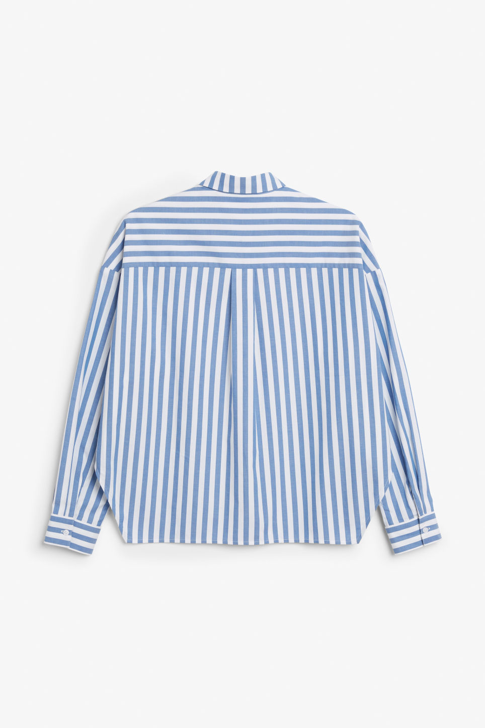 Back image of Monki hidden button cotton blouse in blue