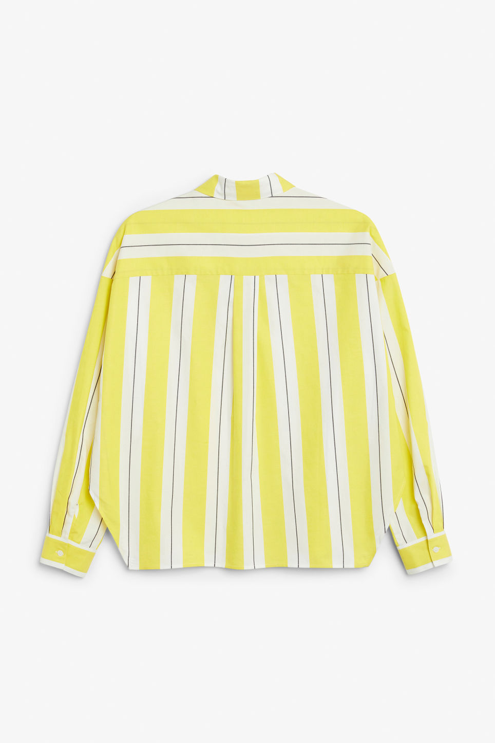 Back image of Monki hidden button cotton blouse in yellow