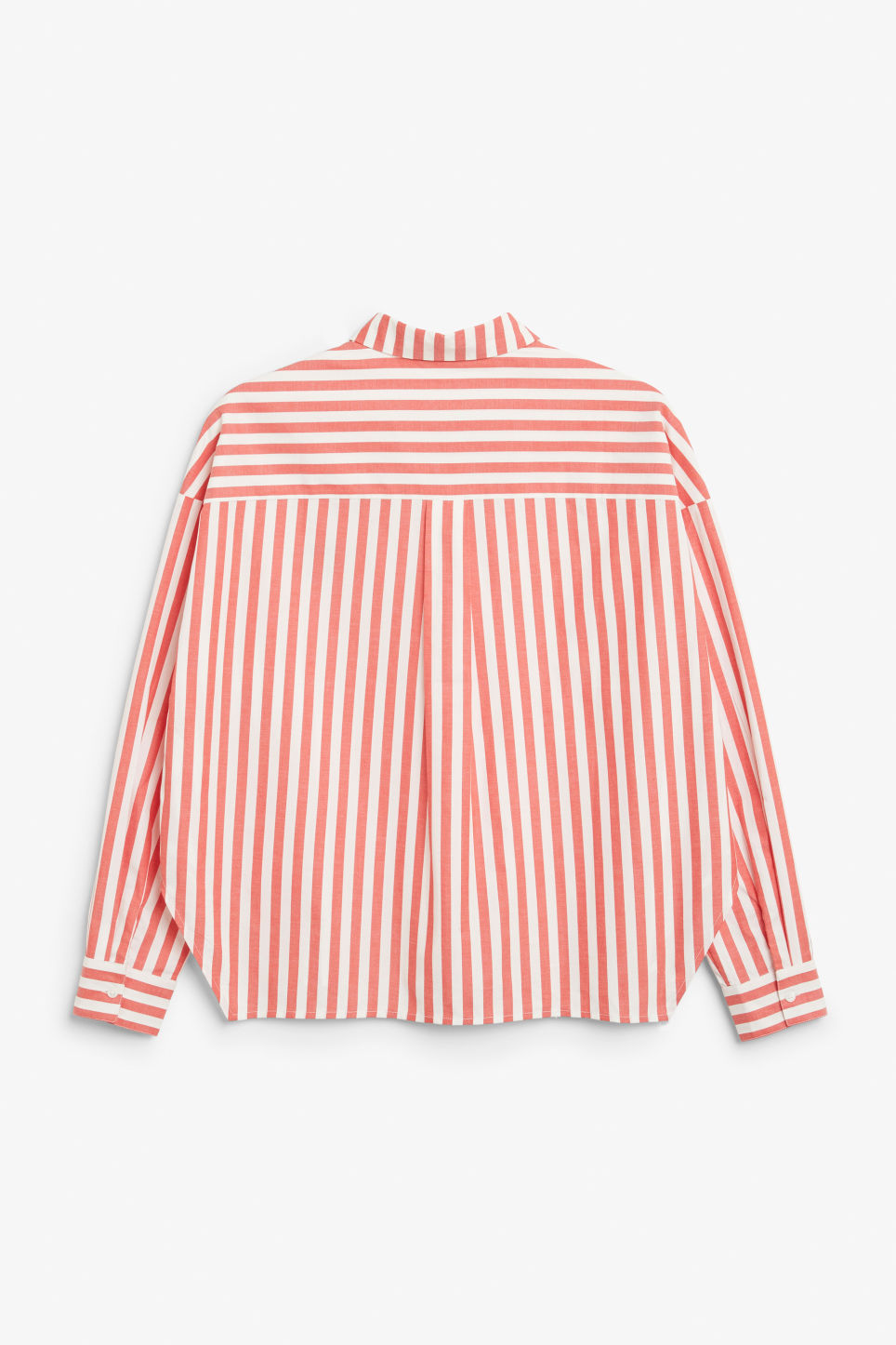 Back image of Monki hidden button cotton blouse in red