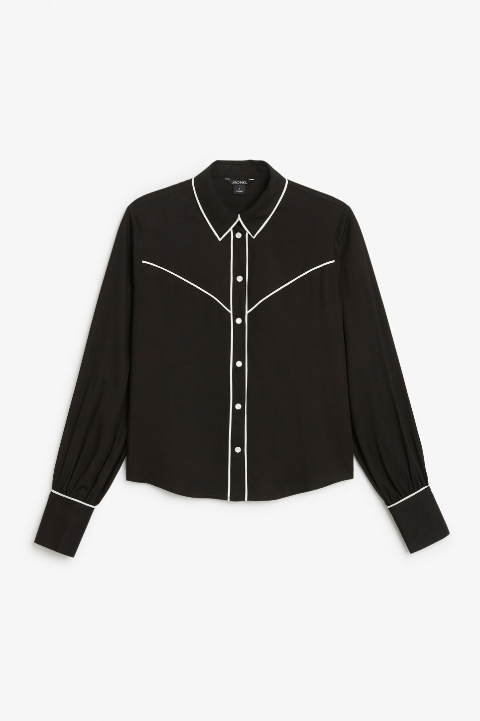 Front image of Monki western shirt in black