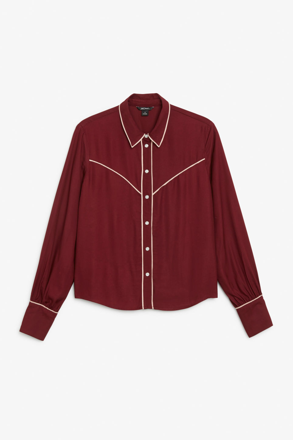 Front image of Monki western shirt in red