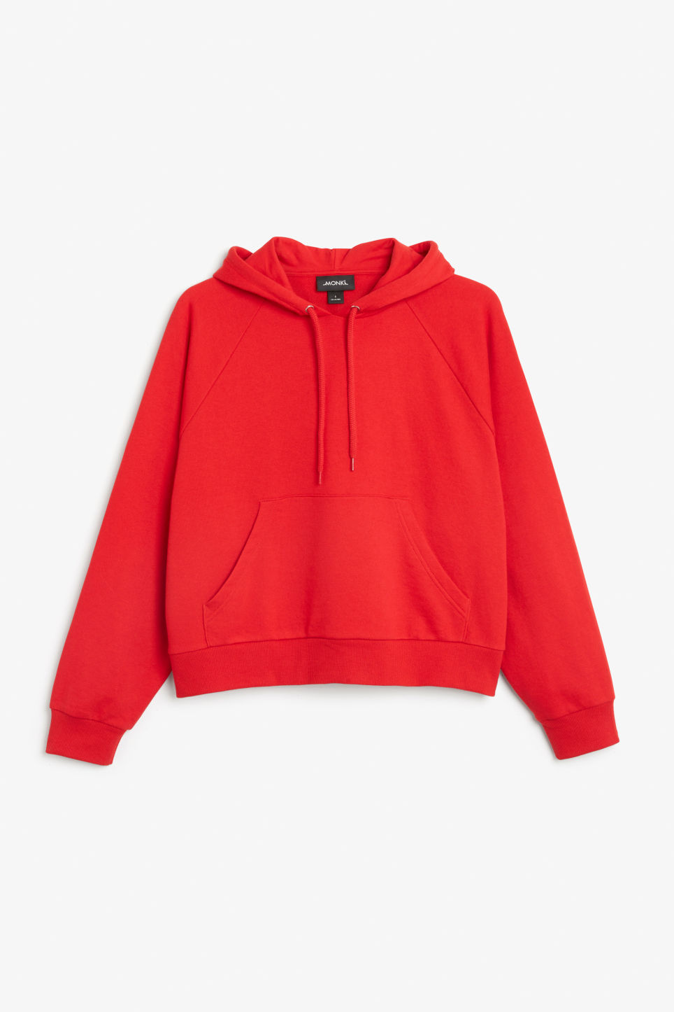 Front image of Monki cropped hoodie in red