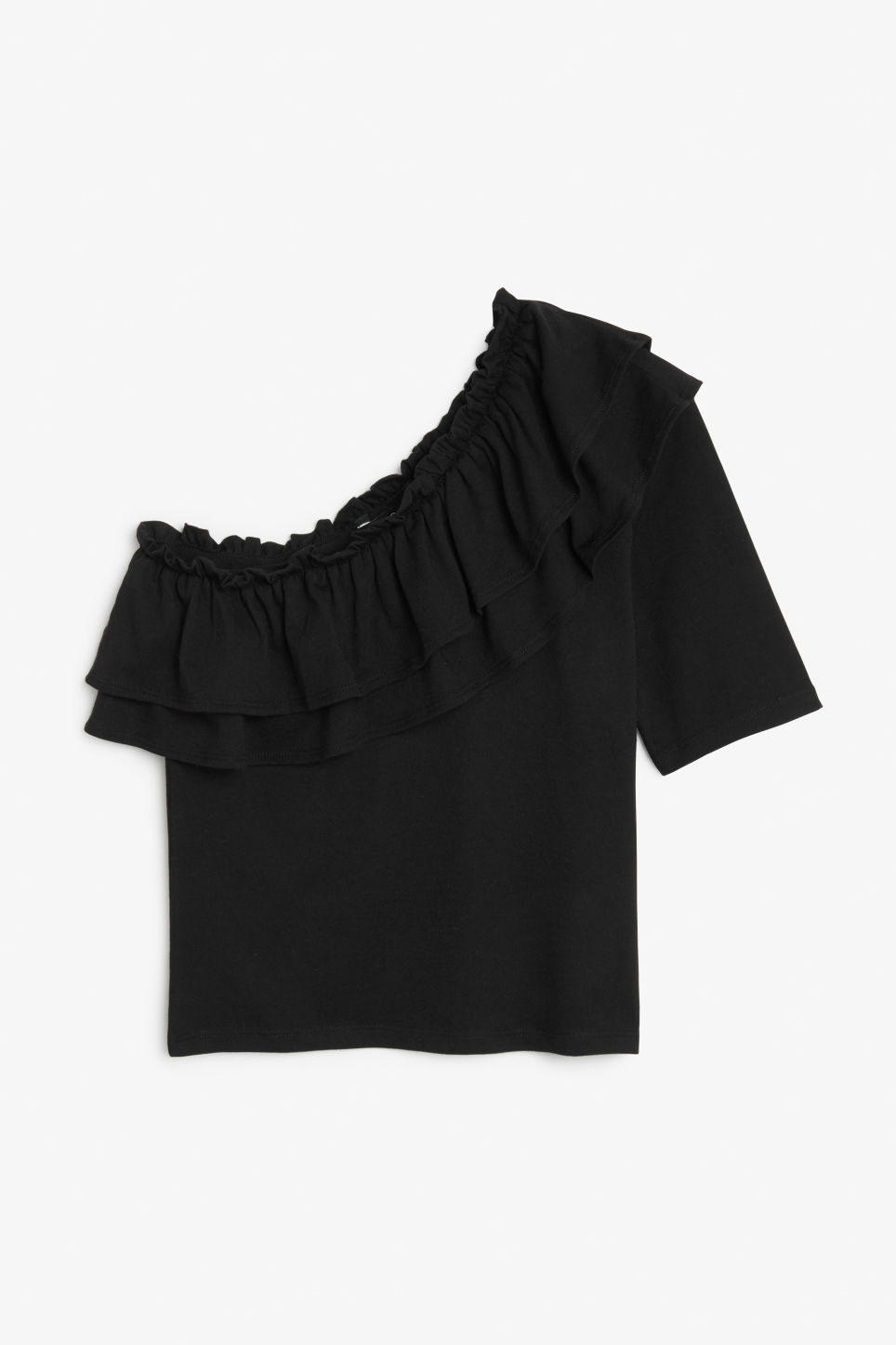 Front image of Monki ruffled one shoulder top in black