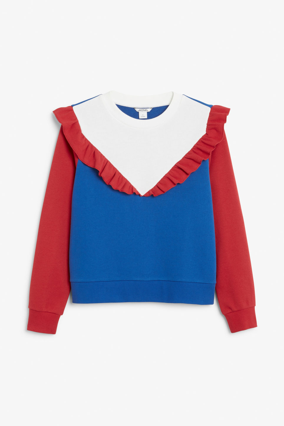 Front image of Monki ruffled sweatshirt in blue