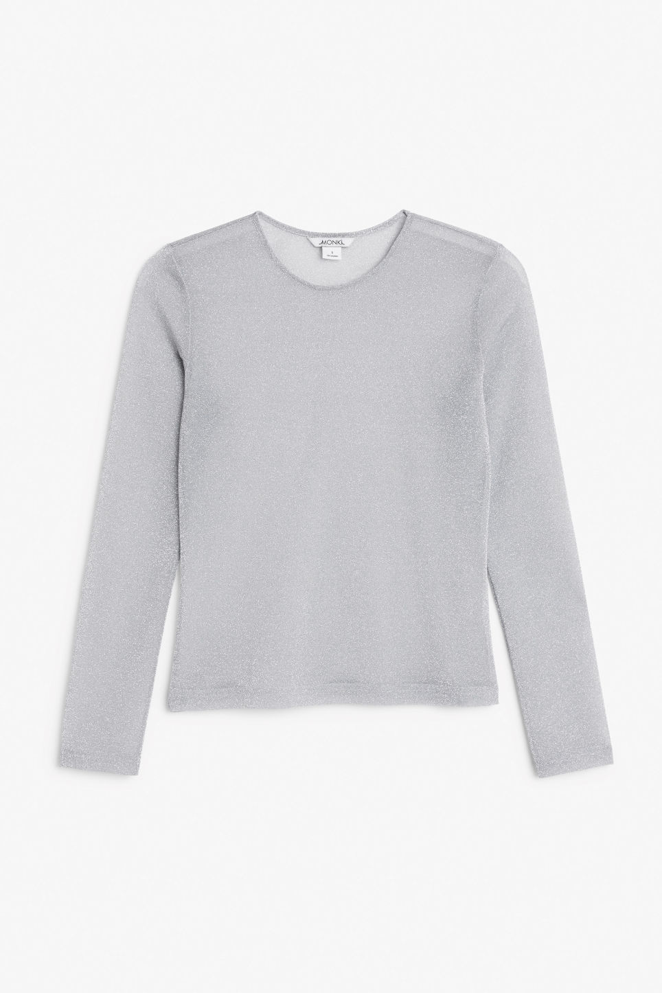Front image of Monki metallic fitted top in silver