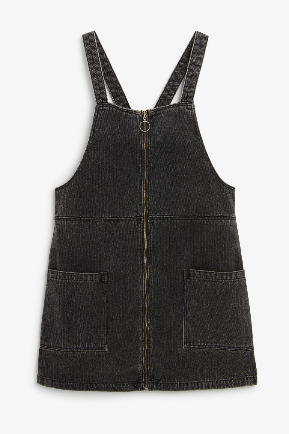 Front image of Monki pinafore zip dress in black
