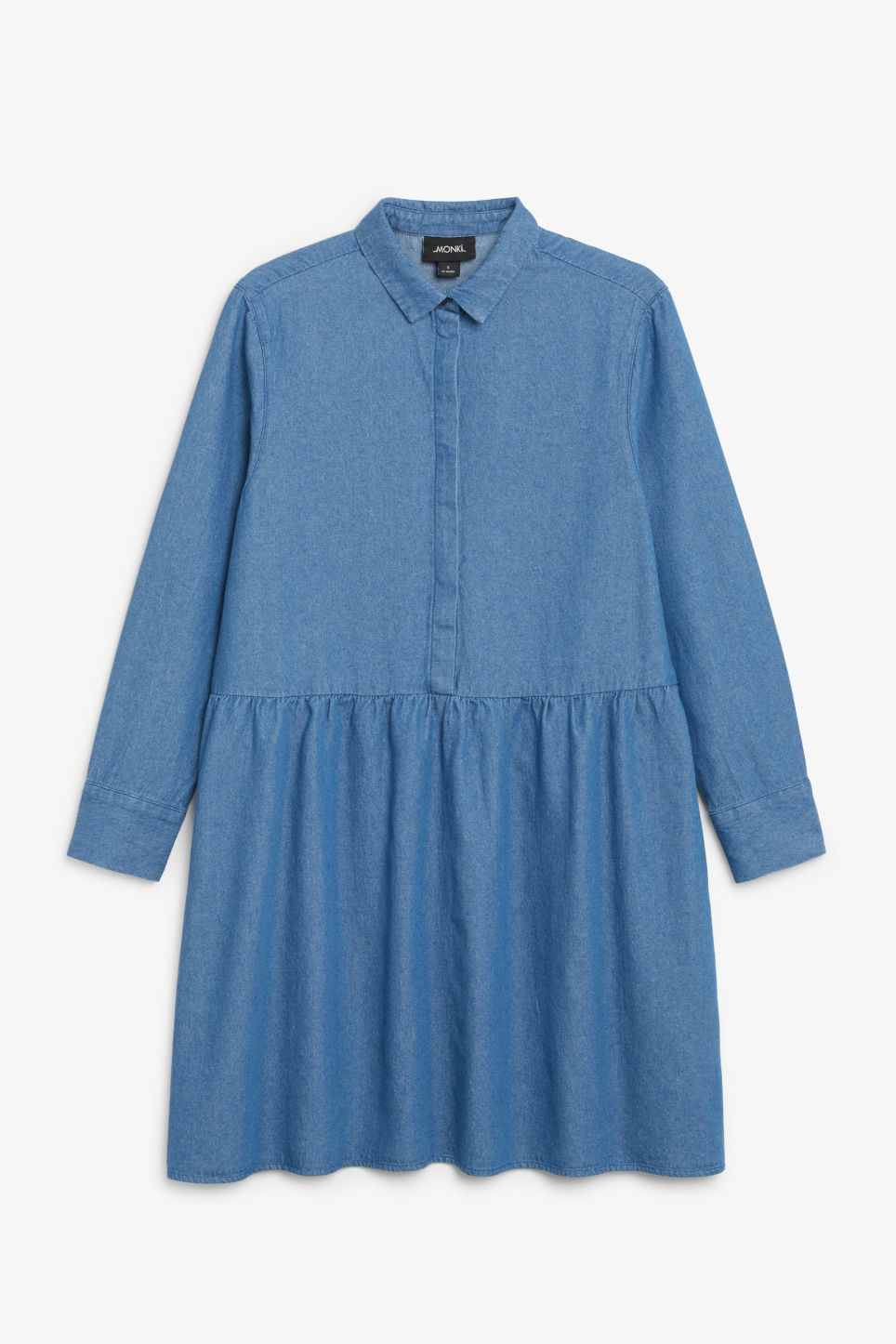 Front image of Monki denim shirt dress in blue