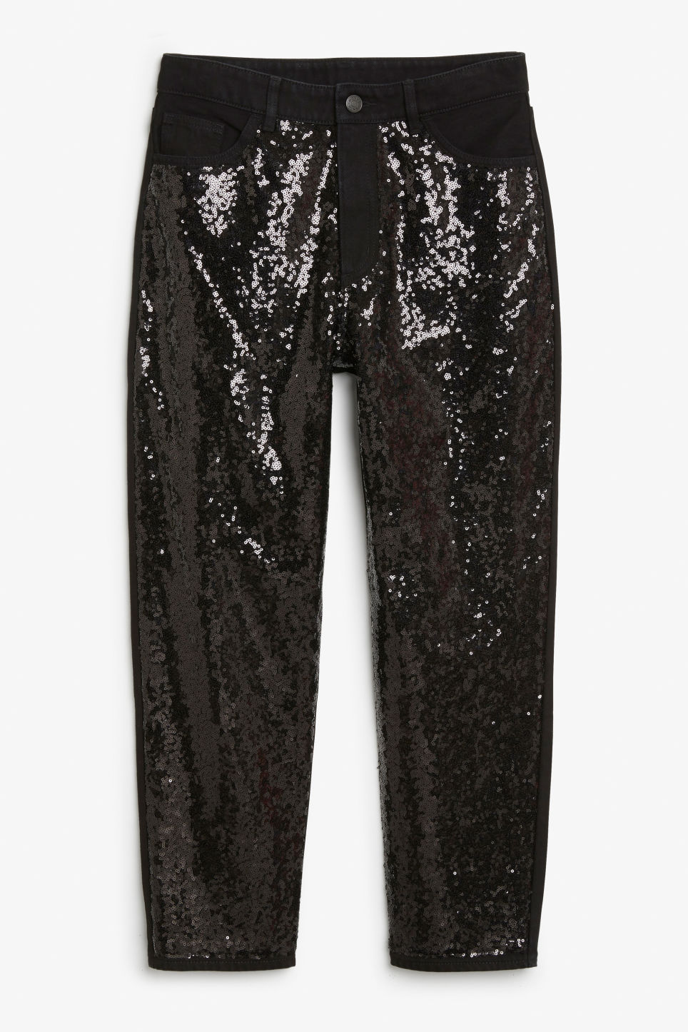 Front image of Monki taiki sequin jeans in black