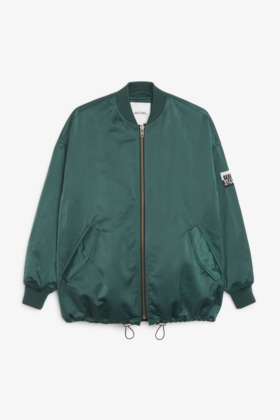 Front image of Monki embroidered satin bomber jacket in turquoise